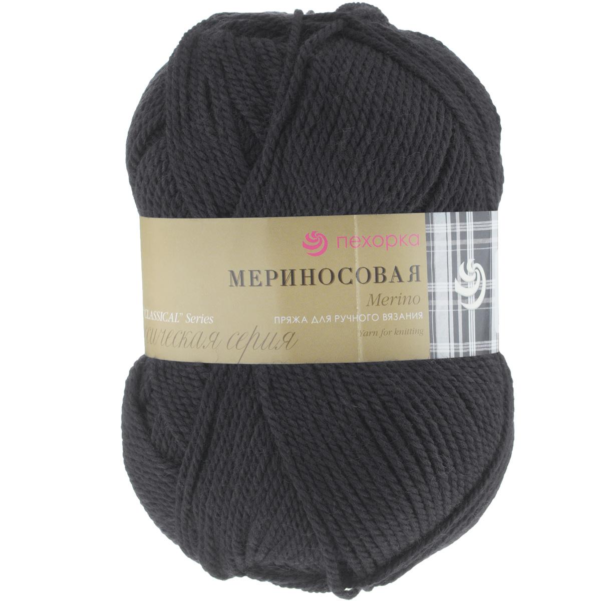 Пряжа для вязания Пехорка Мериносовая, цвет: черный (02), 200 м, 100 г, 10 шт пряжа для вязания пехорка мериносовая цвет изумрудный 335 200 м 100 г 10 шт