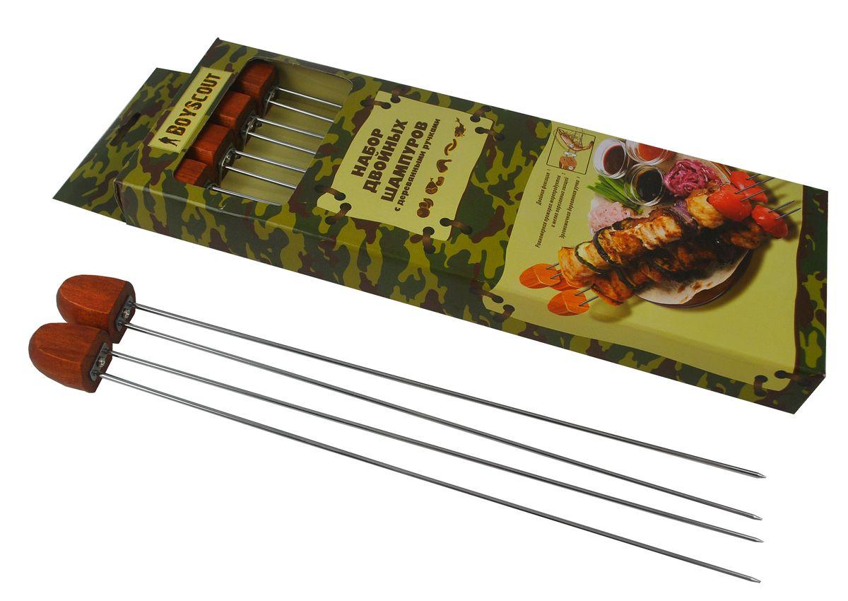 Шампуры двойные Boyscout, с деревянной ручкой, 33 см, 4 шт клеймо для барбекю boyscout наборное 9 x 4 см