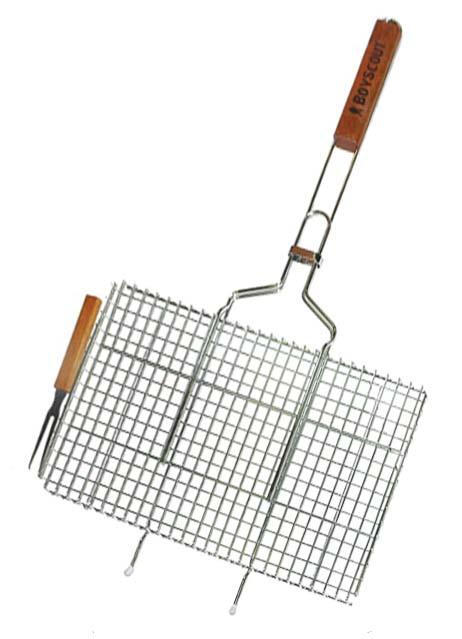 Решетка-гриль Boyscout с вилкой, для стейков, 75 х 45 х 2,5 см, + ПОДАРОК картонный веер решетка гриль boyscout звезда 61342
