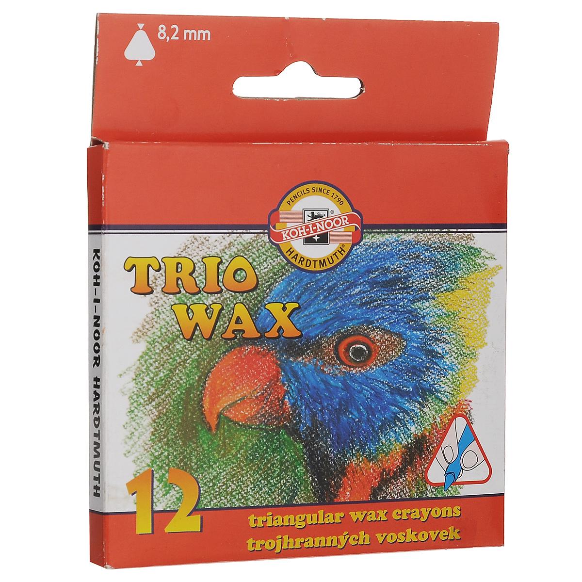 Пастель восковая Koh-i-Noor Trio Wax, трехгранная, 12 цветов карандаши восковые мелки пастель koh i noor мелки восковые 6 цветов