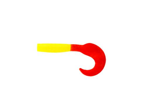 Приманка съедобная Твистер Allvega Flutter Tail Grub, цвет: желтый, красный, 8 см, 3,6 г, 7 шт
