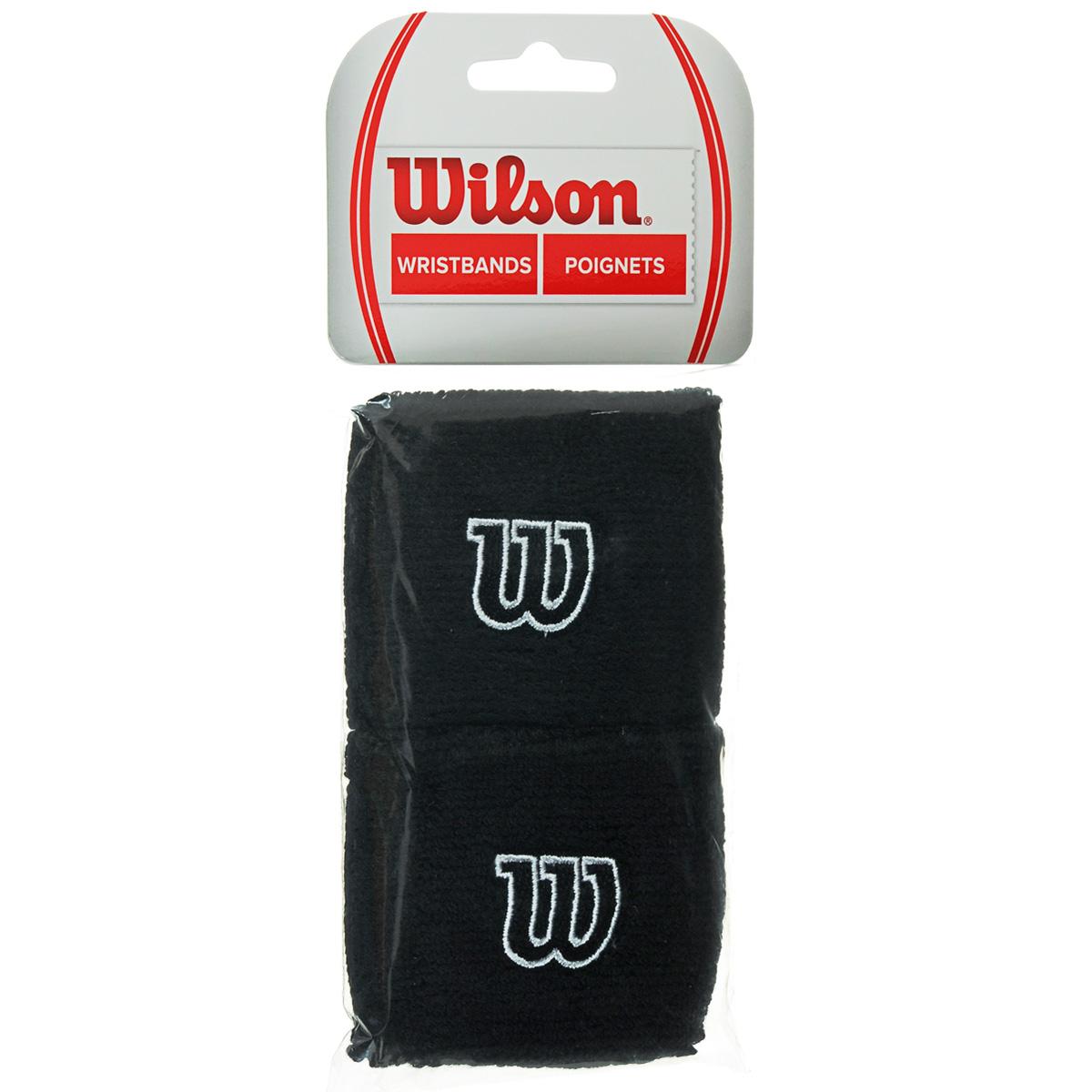 Напульсник Wilson Wristband, цвет: черный, 2 шт. Размер универсальный цена