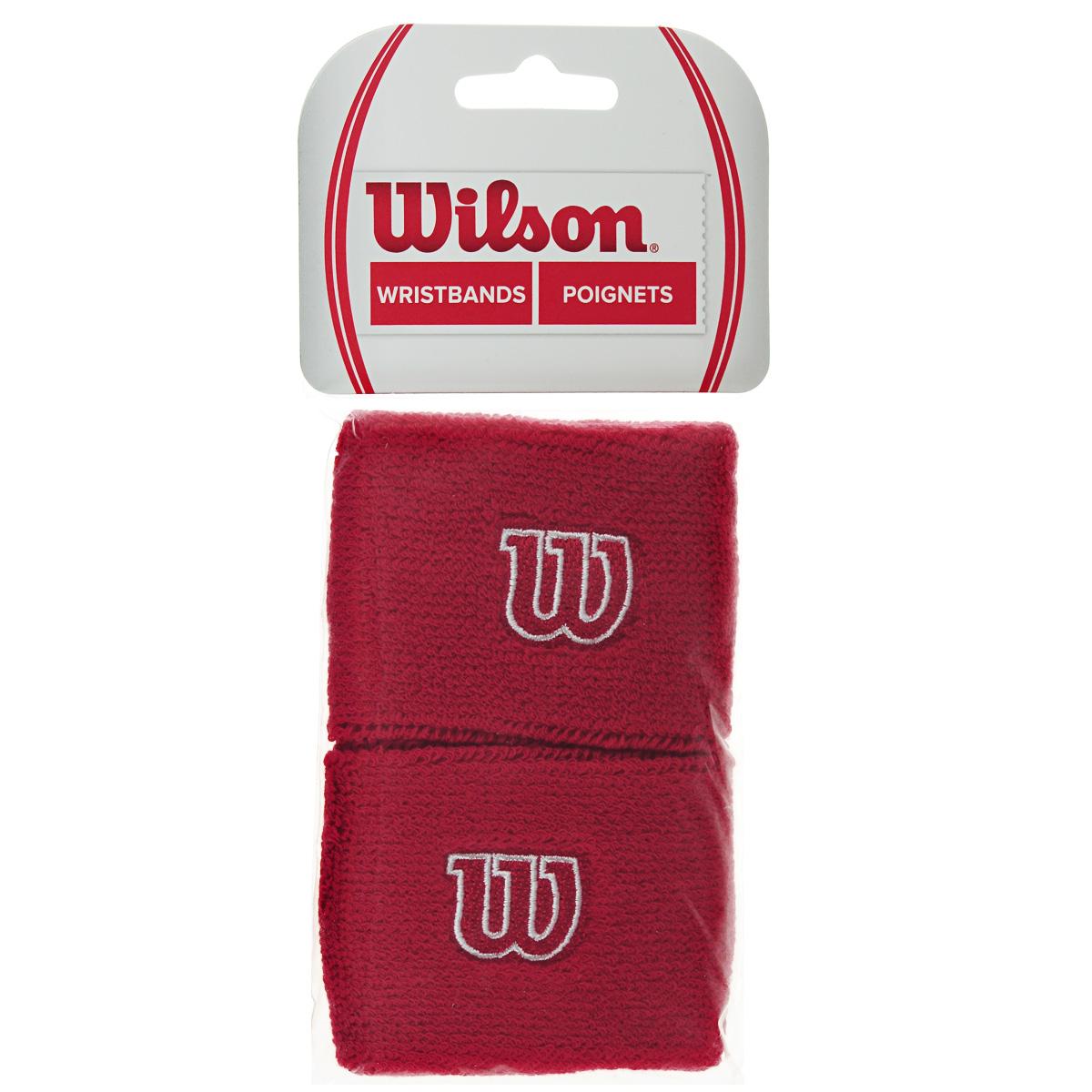 Напульсник Wilson Wristband, цвет: красный, 2 шт. Размер универсальный цена