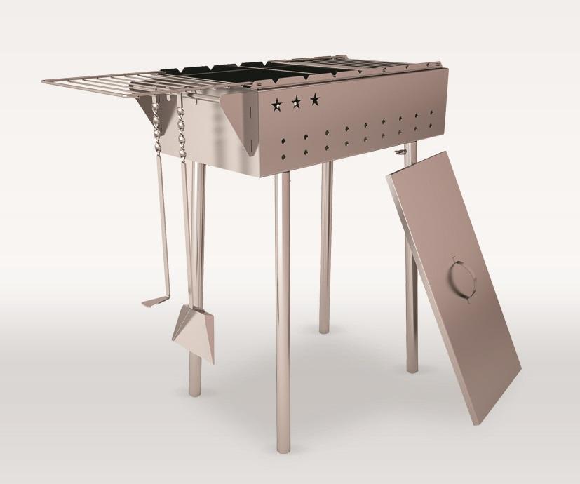 Мангал Возрождение Praktika, 60 см х 33 78 см, цвет: серый металлик