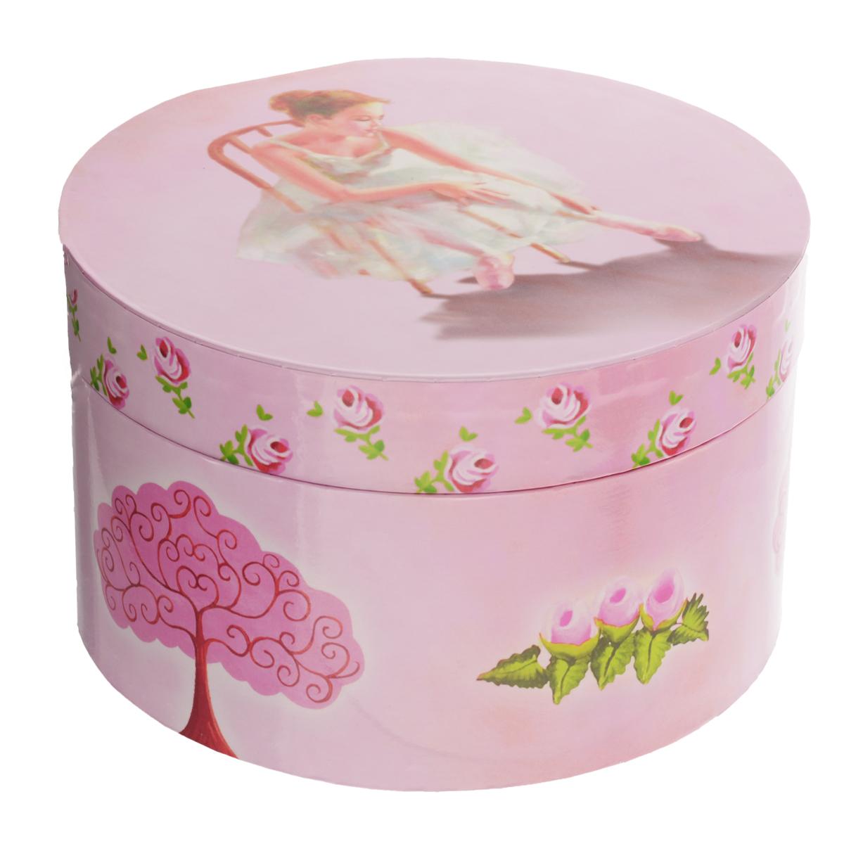 Музыкальная шкатулка Jakos Балерина на стуле, круглая, цвет: розовый lamaze музыкальная игра лев логан звук мелодия lamaze