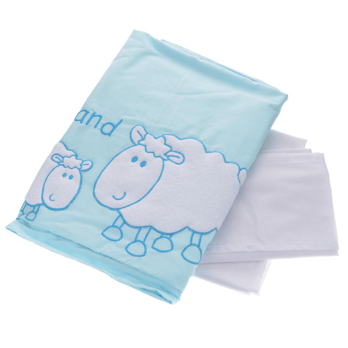 Комплект детского постельного белья Fairy Белые кудряшки, цвет: голубой, 3 предмета fairy комплект белья для новорожденных белые кудряшки цвет белый зеленый 7 предметов