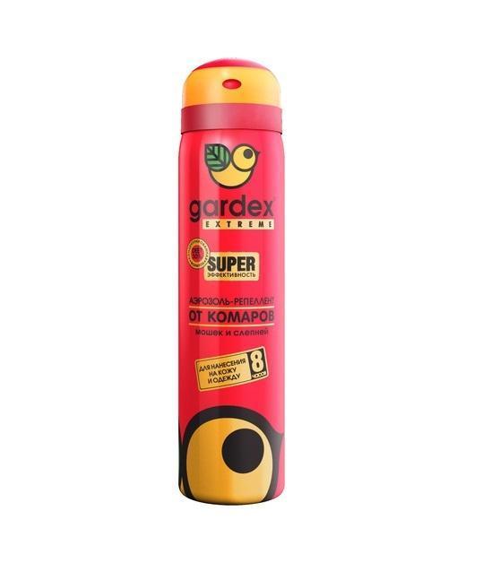 Аэрозоль-репеллент Gardex Extreme Super, от комаров и других насекомых, 80 мл аэрозоль от комаров и клещей gardex baby на одежду 100 мл