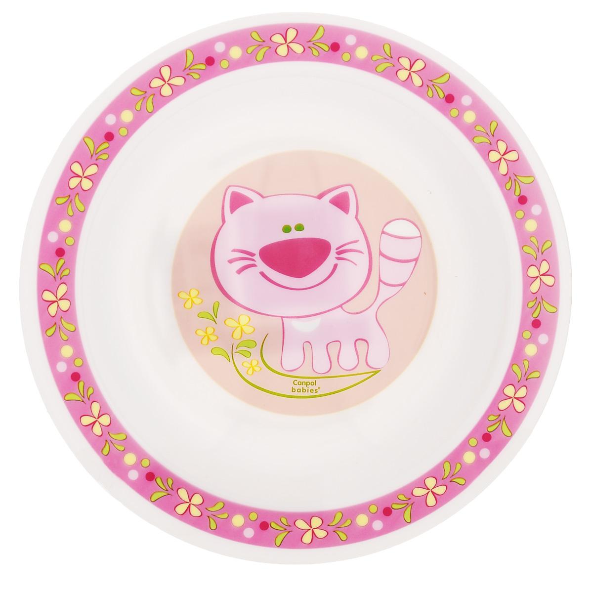 Canpol Babies Тарелка детская глубокая Кот цвет розовый диаметр 18 см недорого