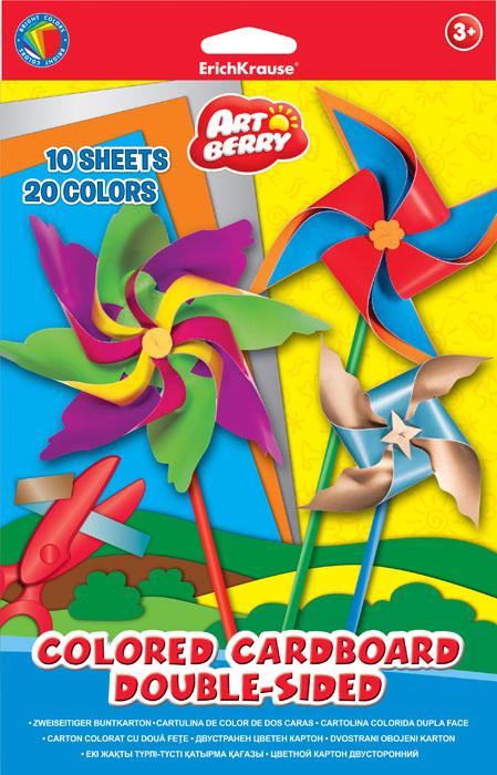 Цветной картон в папке ArtBerry, двусторонний, мелованный, В5, 10 листов, 20 цветов, игрушка-набор для детского творчества Уцененный товар (№69)