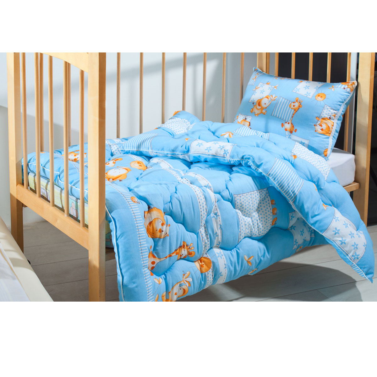 """Одеяло детское Подушкино """"Лежебока"""", стеганое, цвет: голубой, 110 см х 140 см"""