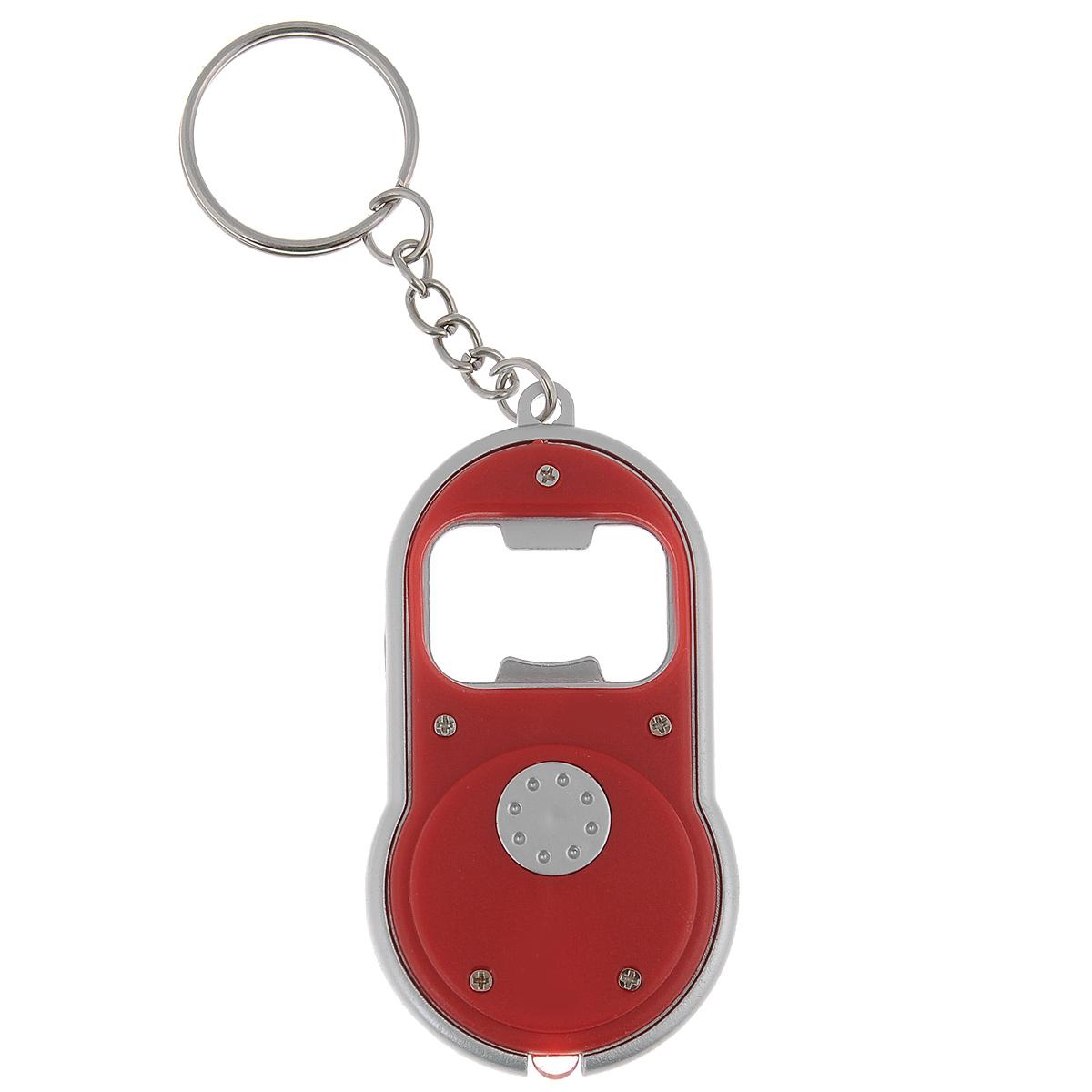 Брелок-открывалка для бутылок Bradex, с фонариком, цвет: красный, 4 см х 7 см