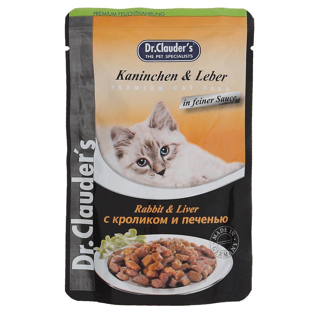 """Консервы """"Dr. Clauder's"""", для взрослых кошек, мясные кусочки в соусе с кроликом и печенью, 100 г"""