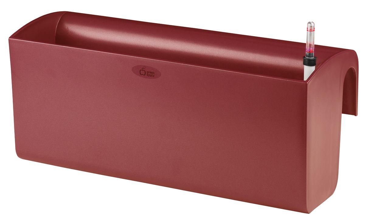 Ящик балконный Green Apple, с системой автополива, цвет: красный, 50 х 20 х 22 см бонсайница green apple с системой автополива цвет красный 28 х 28 х 11 5 см