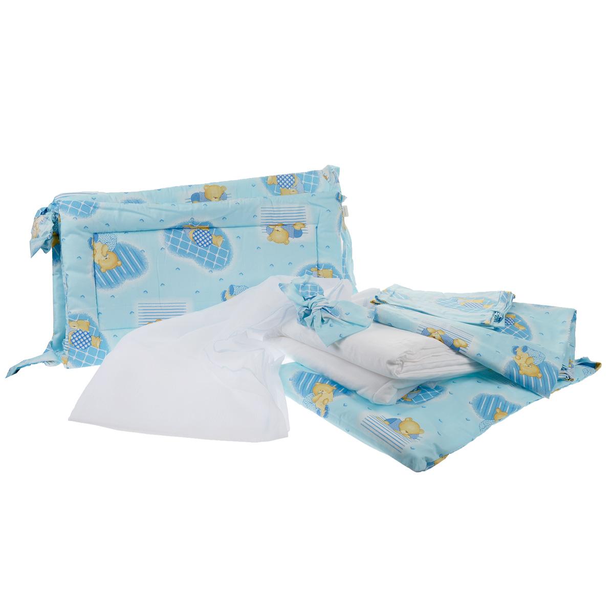 """Комплект в кроватку Фея """"Мишки"""", цвет: голубой, 7 предметов"""