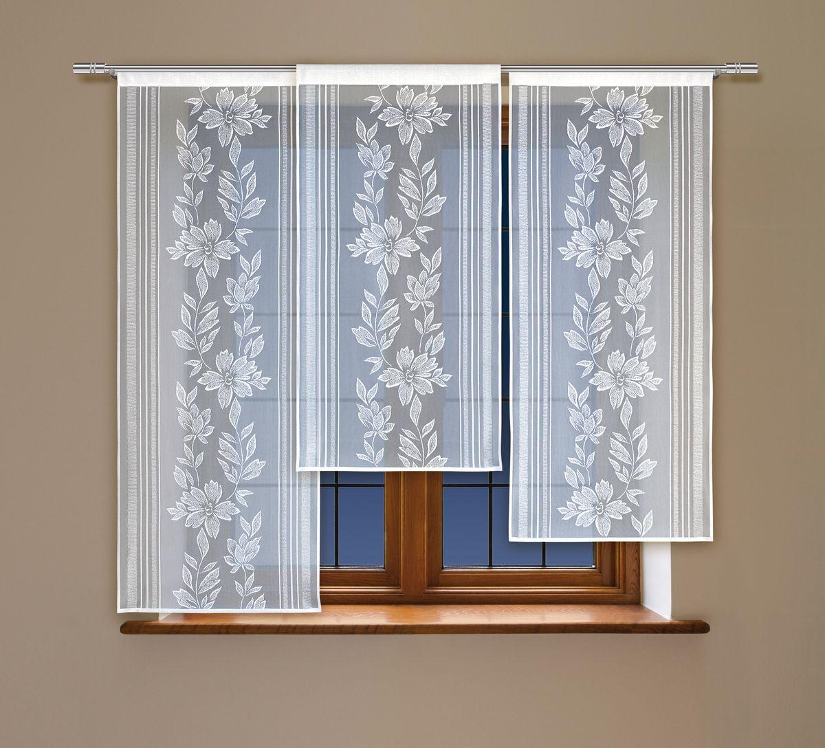 Комплект гардин Haft, на кулиске, цвет: белый, 3 шт. 212050 комплект гардин панно haft шторы светлые page 10