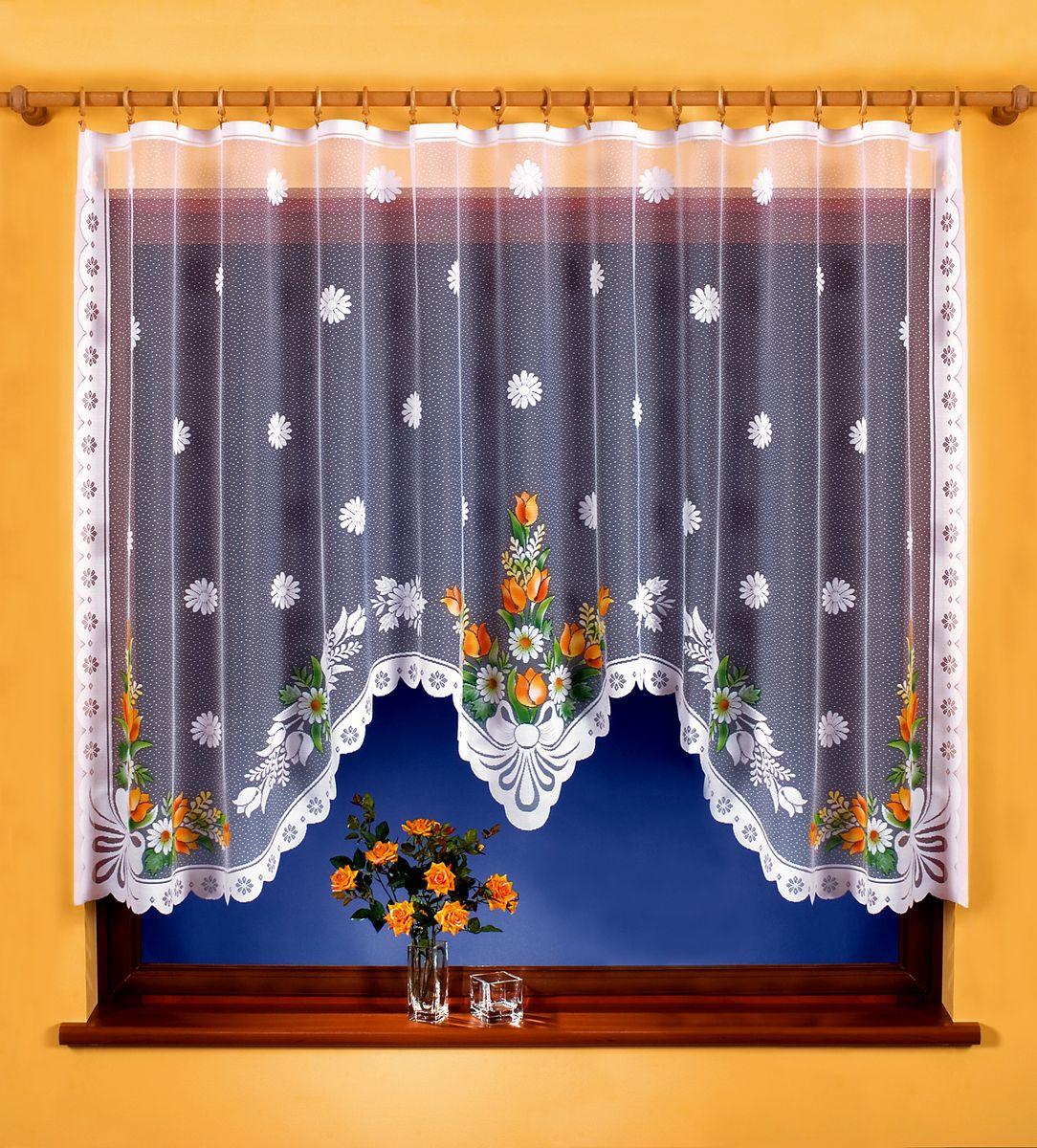 Гардина Wisan, на зажимах, цвет: белый, высота 150 см. 9456