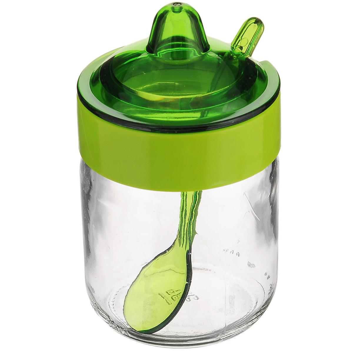 """Емкость для соуса """"Herevin"""", с ложкой, цвет: зеленый, 200 мл"""