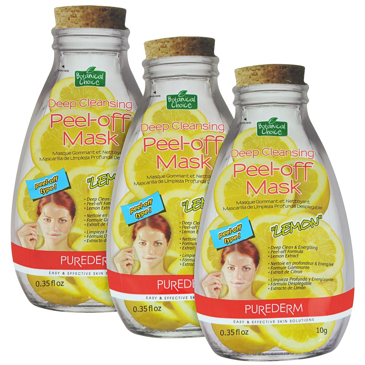 Purederm Глубоко очищающая маска-пилинг для лица Лимон, 3 х 10 г. коллагеновая маска purederm с экстрактом кофе 18 г х 3 шт