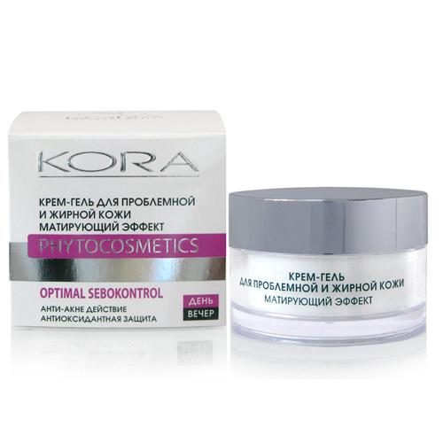 KORAКрем-гель для проблемной и жирной кожи.  Матирующий эффект, 50 мл KORA