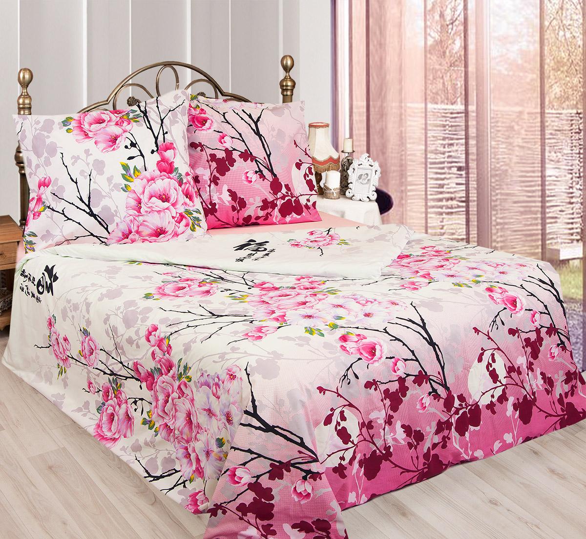 Комплект белья Sova & Javoronok Японский мотив, 2-спальный, наволочки 50х70, цвет: белый, розовый, сиреневый. 203111411