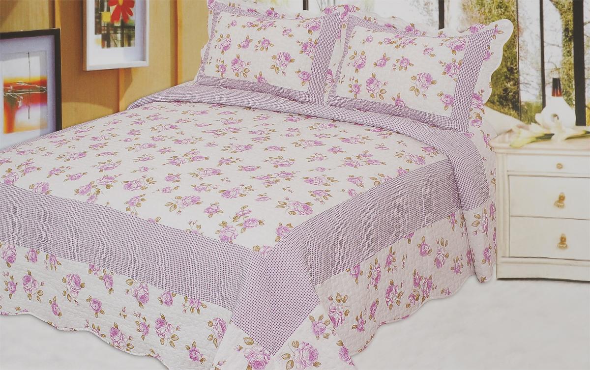 Комплект для спальни Buenas Noches: покрывало 230 см х 250 см, 2 наволочки 50 см х 70 см, цвет: белый, сиреневый комплект для спальни сайлид twiggi покрывало 230 х 250 см 2 наволочки 50 х 70 см цвет голубой