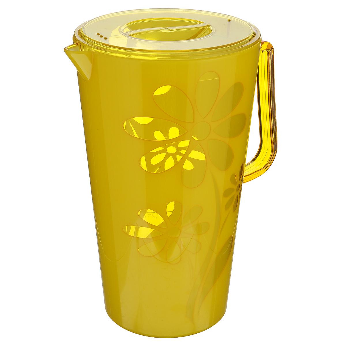 Кувшин Альтернатива Соблазн, с крышкой, цвет: желтый, 2,5 л чаша альтернатива соблазн цвет красный 1 7 л