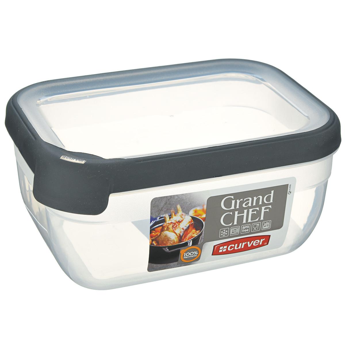 Емкость для заморозки и СВЧ Curver Grand Chef, цвет: прозрачный, серый, 1,8 л контейнер для продуктов curver grand chef 2 6 л серая крышка