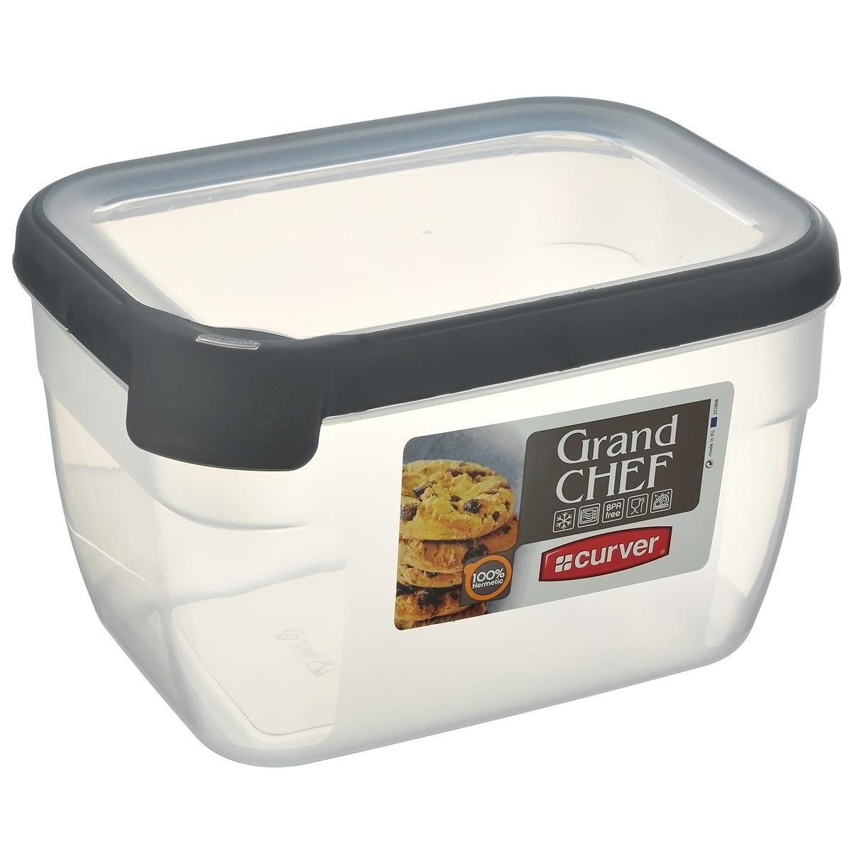 """Емкость для заморозки и СВЧ Curver """"Grand Chef"""", цвет: серый, 2,4 л"""