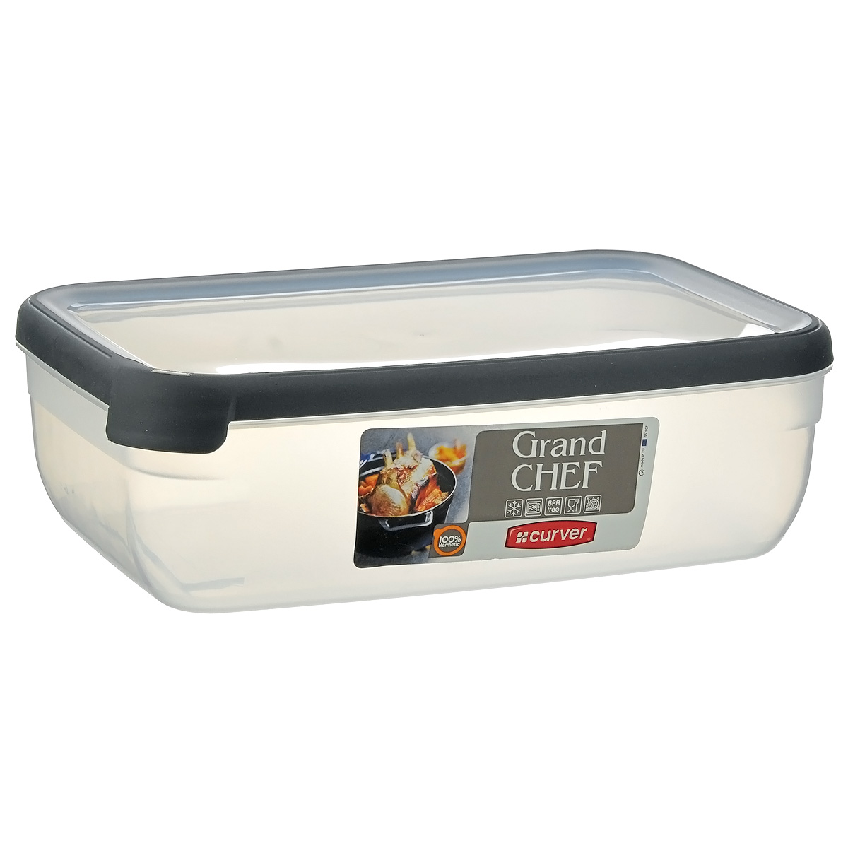 Емкость для заморозки и СВЧ Curver Grand Chef, цвет: серый, 4 л контейнер для продуктов curver grand chef 2 6 л серая крышка