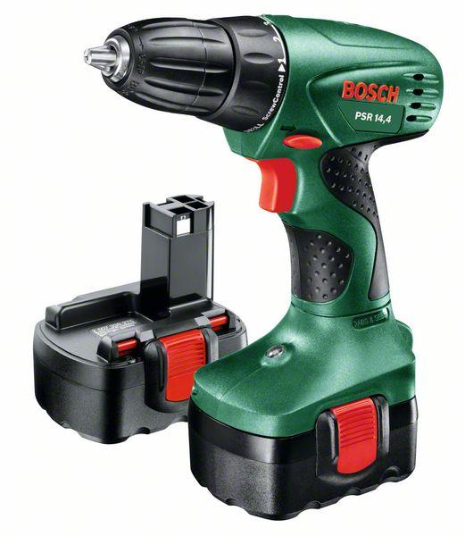 Шуруповерт Bosch PSR 14.4 06039554210603955421Инструмент предназначен для работы с винтами и шурупами, а также для сверления отверстий в дереве, керамике, пластмассах и металле. Это бытовая модель, не рассчитанная на чрезмерные нагрузки. К преимуществам модели относятся: 2 вида регулировок (крутящего момента и количества оборотов) – для наиболее точной работы; отличная производительность при работе с крепежом (крутящий момент до 28 Нм); удобный хват и удачная развесовка; патрон типа БЗП с фиксацией шпинделя Auto-Lock – для упрощенной смены насадок; наличие светодиодов для подсвечивания рабочей зоны. В качестве источника питания используется никель-кадмиевая батарея. При соблюдении правильного режима зарядки аккумулятор этого типа прослужит вам долгое время. Время заряда аккумулятора: 3 часа. Рекомендуем!