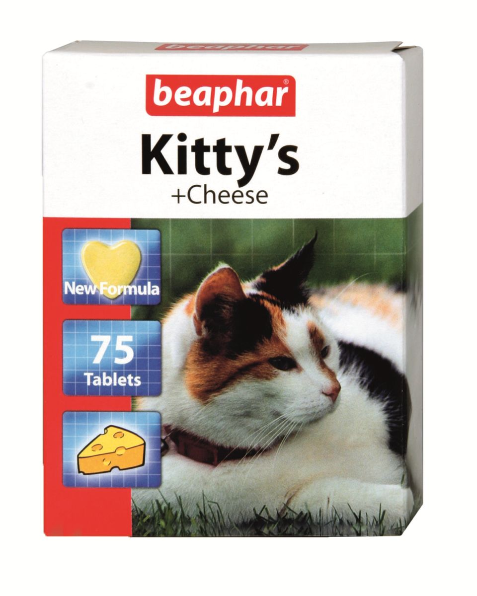 Лакомство витаминизированное для кошек Beaphar Kitty's Cheese, с сыром, 75 таблеток beaphar beaphar kittys cheese витаминизированное лакомство сердечки для кошек с сыром 180 таблеток