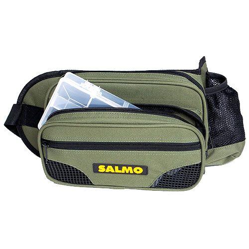 Сумка рыболовная поясная Salmo 59, цвет: зеленый, черный, 26 см х 15 см х 6,5 см