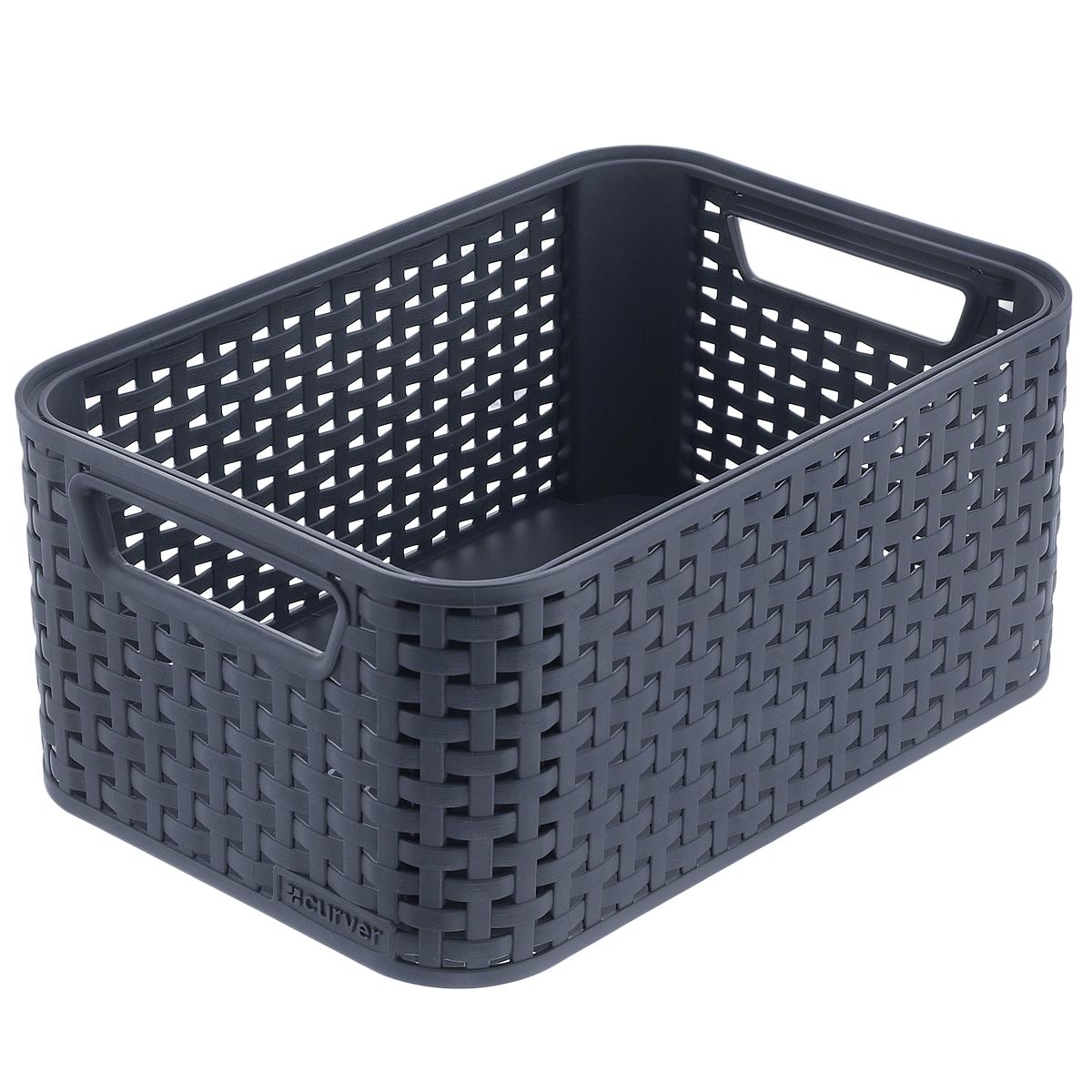 Корзинка универсальная Curver Style, цвет: темно-серый, 39 см х 29 см х 16,5 см корзинка для хранения garden rattan