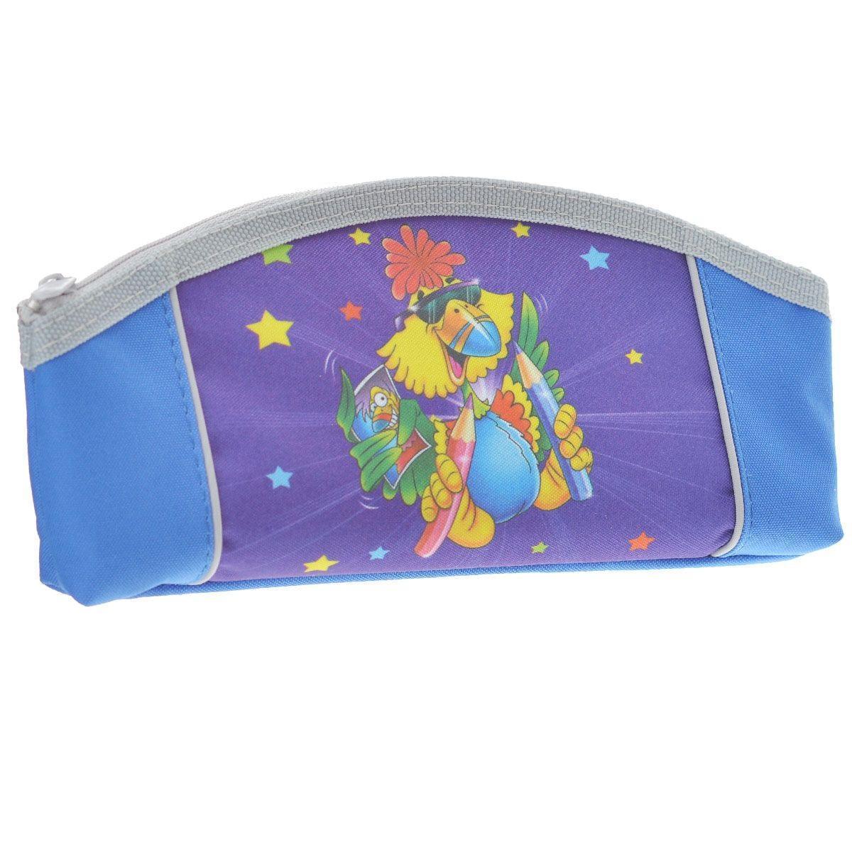 Пенал на молнии JOYFUL BIRDIE,1 отделение, без наполнения, цвет: сине-фиолетовый пенал односекционный tiger family joyful birdie цвет синий c36873