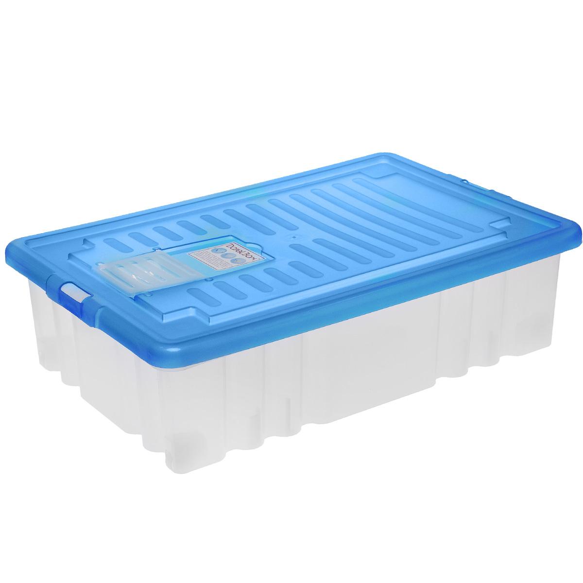 Ящик Darel Box, с крышкой, цвет: синий, прозрачный, 36 л ящик darel box с крышкой цвет салатовый прозрачный 18 л