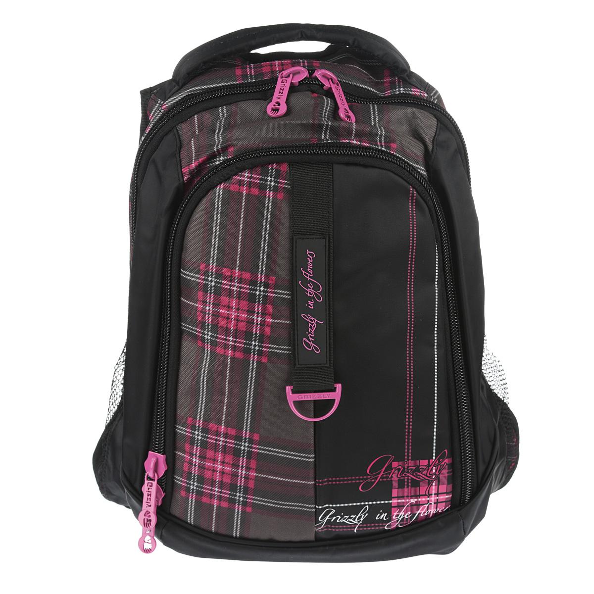 Рюкзак городской Grizzly, цвет: клетка фуксия, 24 л. RD-521-1/6 цена