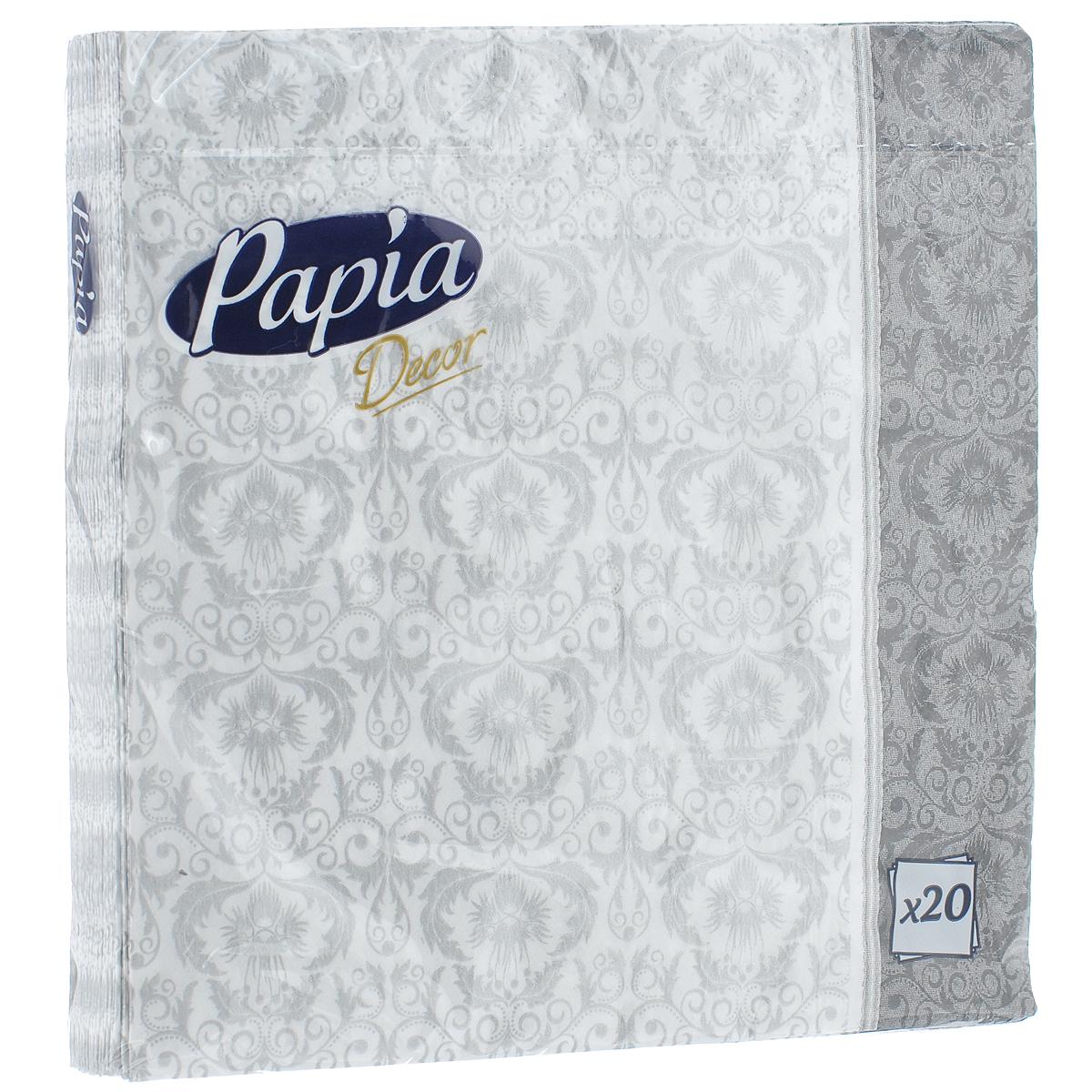 Салфетки бумажные Papia Decor, трехслойные, в ассортименте, 33 x 33 см, 20 шт салфетки pol mak детский мотив трехслойные 33 х 33 см 20 шт