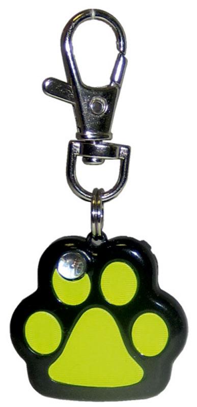"""Маячок на ошейник V.I.Pet """"Лапка"""", мигающий, цвет: черный, желтый"""