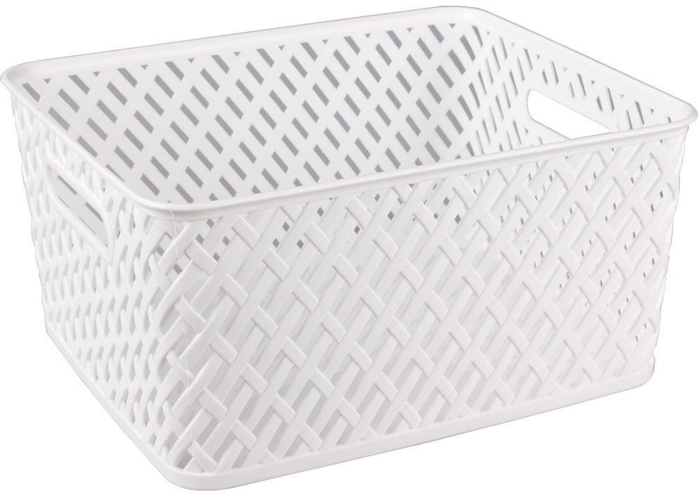 Корзина Альтернатива Плетенка, цвет: белый, 35 см х 29 см х 17,5 см корзина для хранения арт студия решетняк винтаж средняя 15 х 12 см