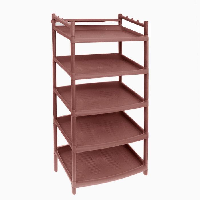 Этажерка для обуви BranQ, 5-ти секционная, цвет: коричневый, 50,5 х 41,5 х 104 см этажерка branq nature 3 секционная прямоугольная цвет слоновая кость 47 х 33 5 х 25 5 см