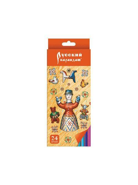 Карандаши 24 цвета Русский карандаш. Фольклор (длина 175 мм) шестигранные в картонной двухрядной коробке с европодвесом, ok 6.4 мм карандаш ok