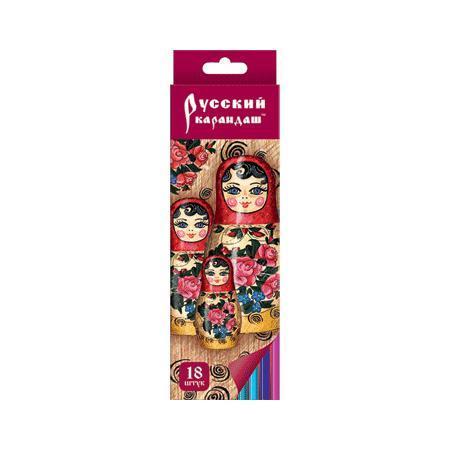 Карандаши 18 цветов Русский карандаш. Фольклор (длина 175 мм) шестигранные, заточенные в картонной двухрядной коробке с европодвесом, ok 6 карандаш ok