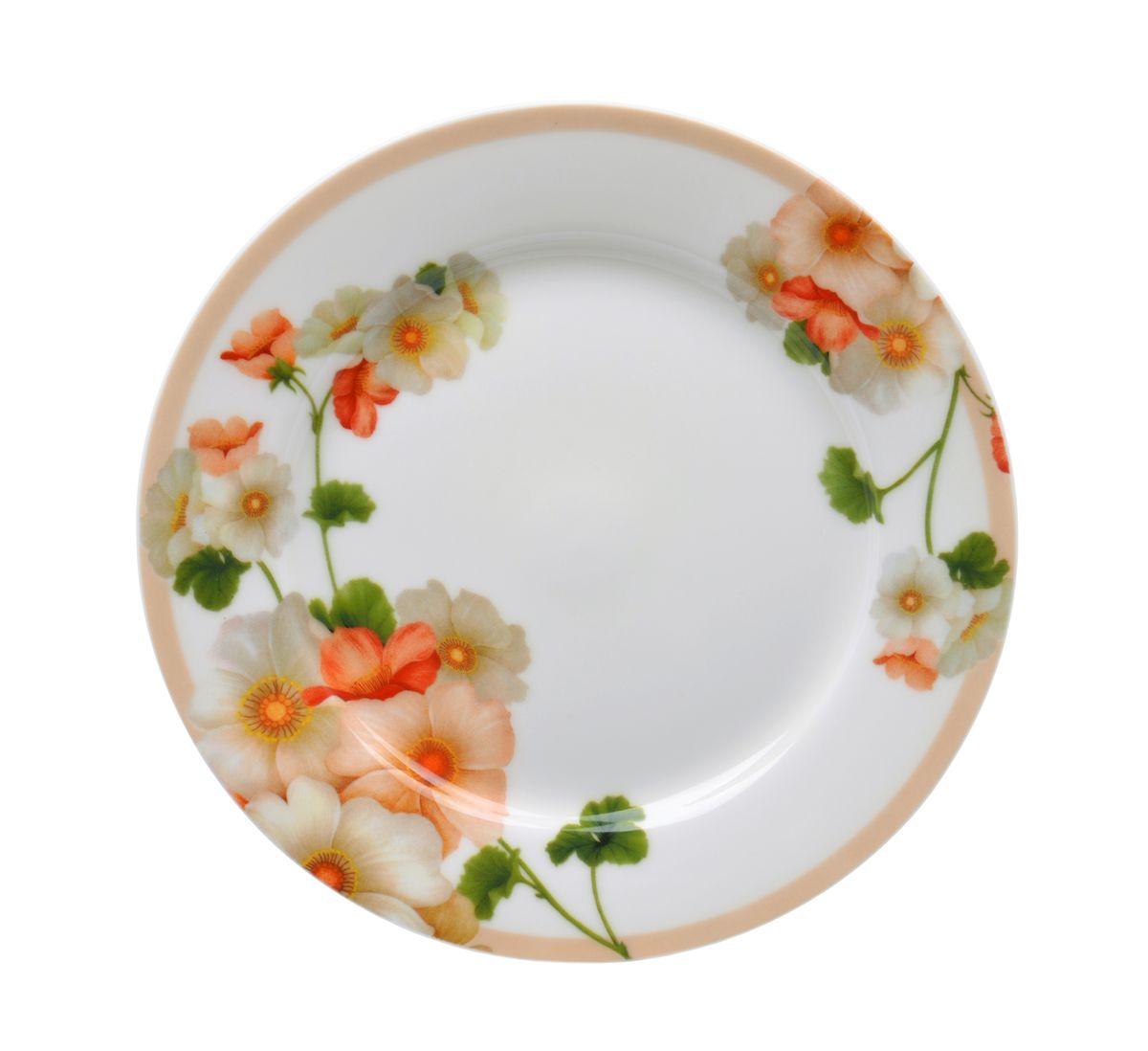 Фото - Тарелка десертная Nanshan Porcelain Мальва, диаметр 19 см тарелка turon porcelain атлас цвет белый синий золотистый диаметр 22 5 см