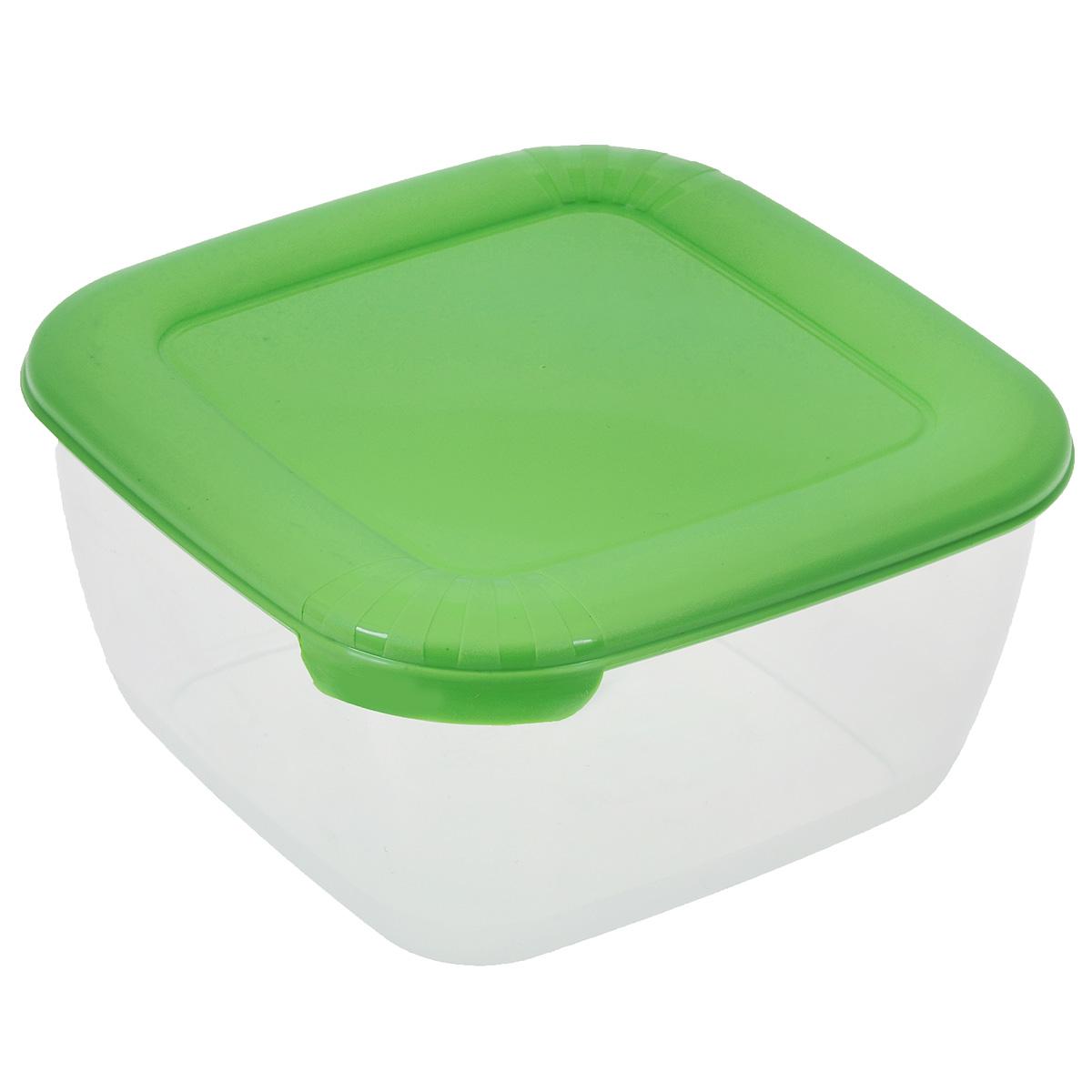 Контейнер для СВЧ Полимербыт Лайт, цвет: прозрачный, зеленый, 950 мл контейнер полимербыт лайт цвет голубой 3 л