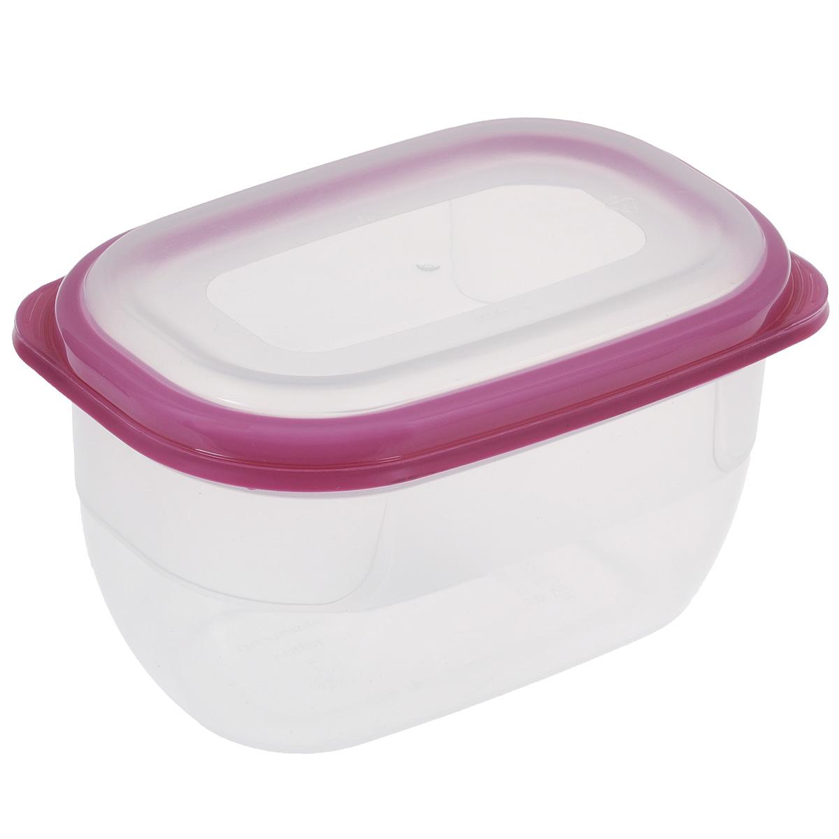 Контейнер для СВЧ Полимербыт Премиум, цвет: прозрачный, розовый, 750 мл контейнер полимербыт лок декор 750 мл