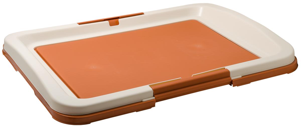 Туалет для собак V.I.Pet Японский стиль, цвет: коричневый, молочный, 63 х 49 х 6 см туалет для собак v i pet японский стиль цвет коричневый молочный 48 х 35 х 5 см