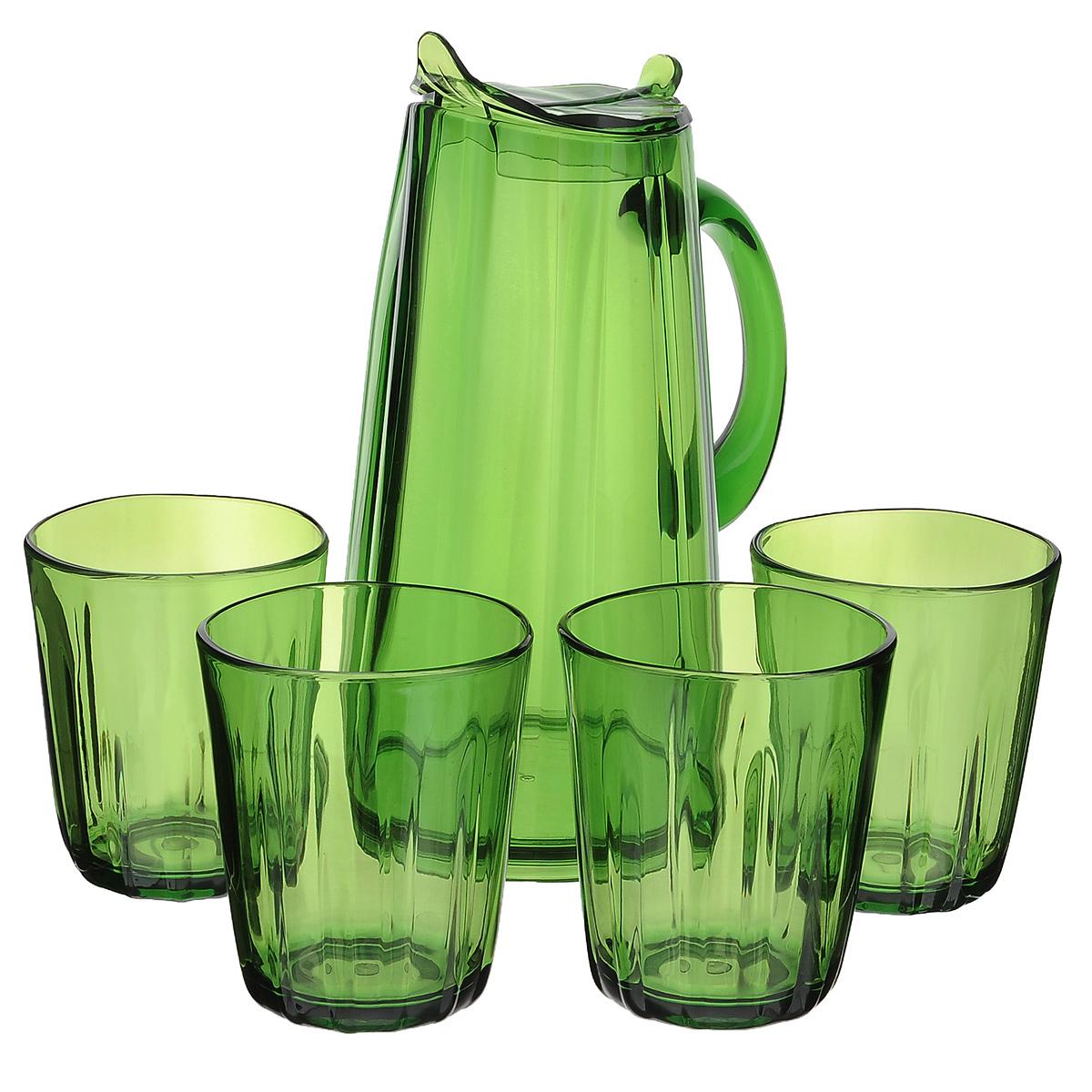 """Набор для сока Louis Gourmet """"Листок"""", цвет: зеленый, 5 предметов"""