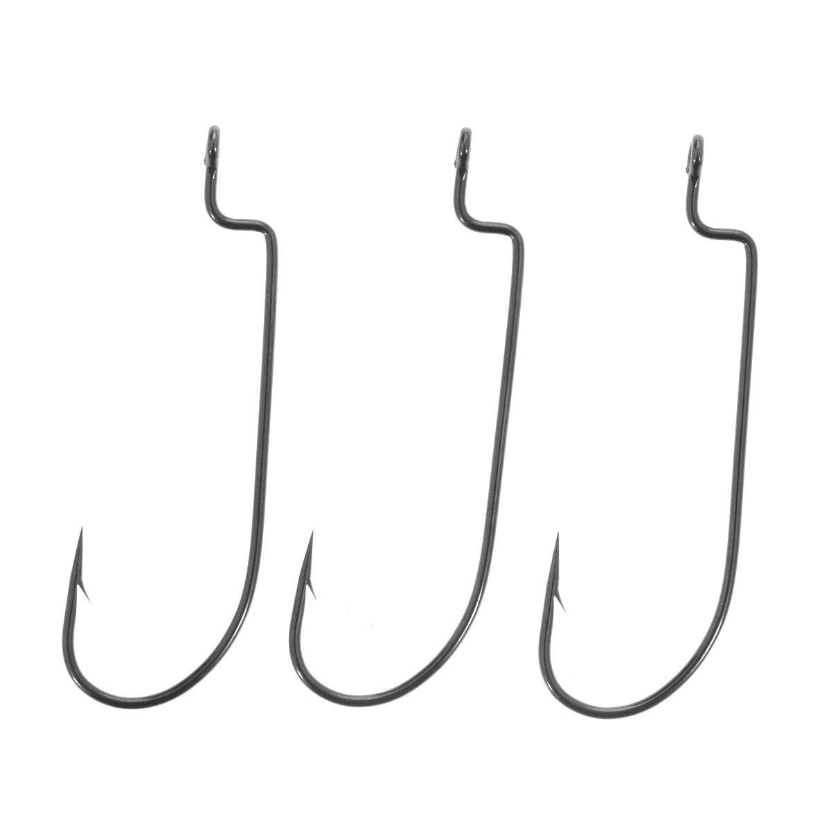 цена на Крючки рыболовные офсетные Cobra L-worm, цвет: черный, размер 3/0, 3 шт