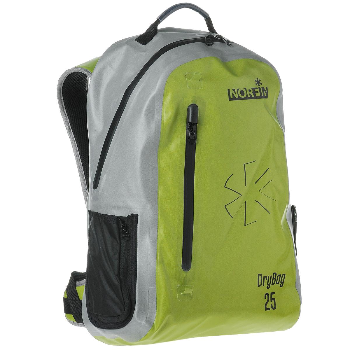 Рюкзак городской Norfin Dry Bag, цвет: серый, неоновый желтый, 25 л цена