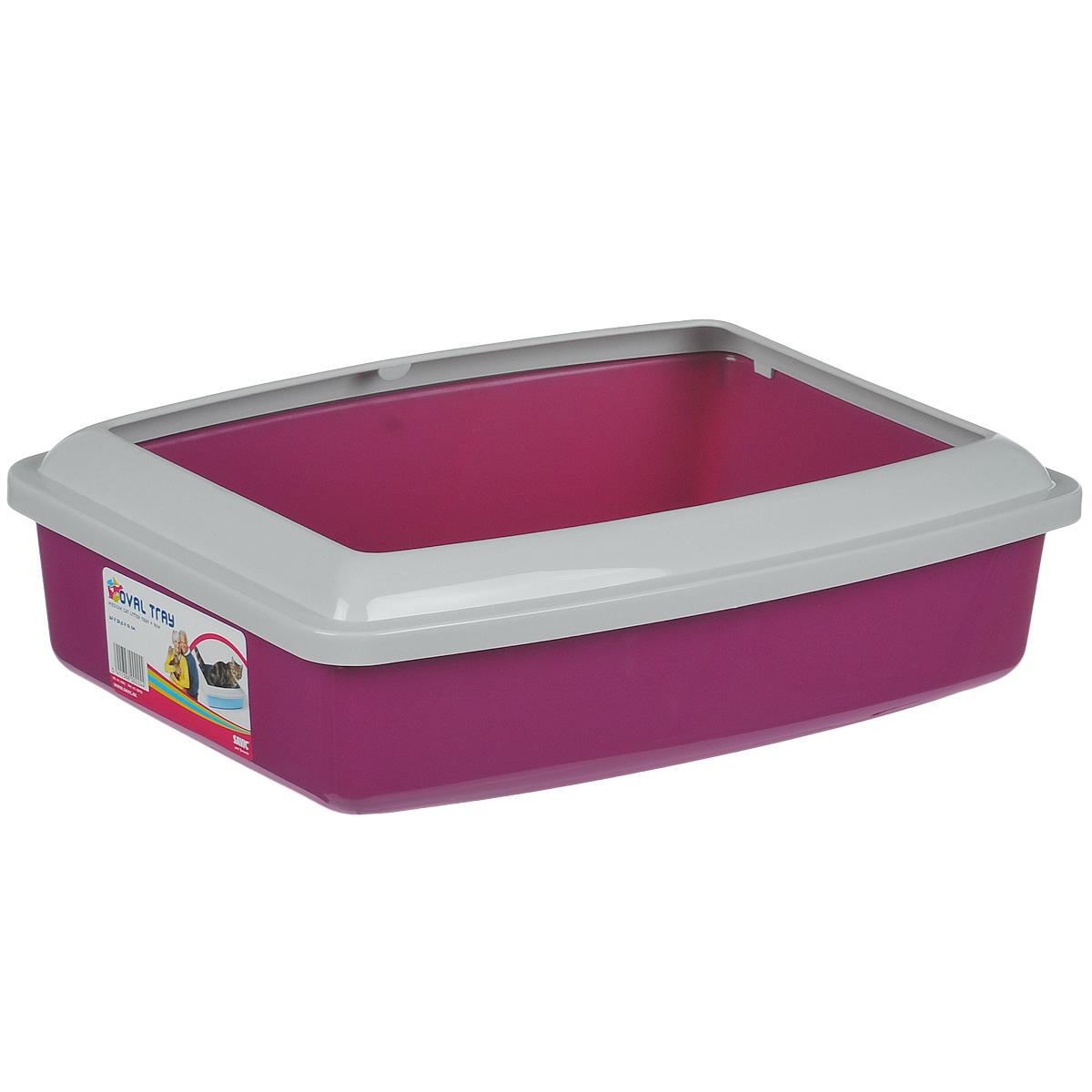 Туалет для кошек Savic Oval Trey Medium, с бортом, цвет: малиновый, 42 см х 33 см trey songz trey songz trigga